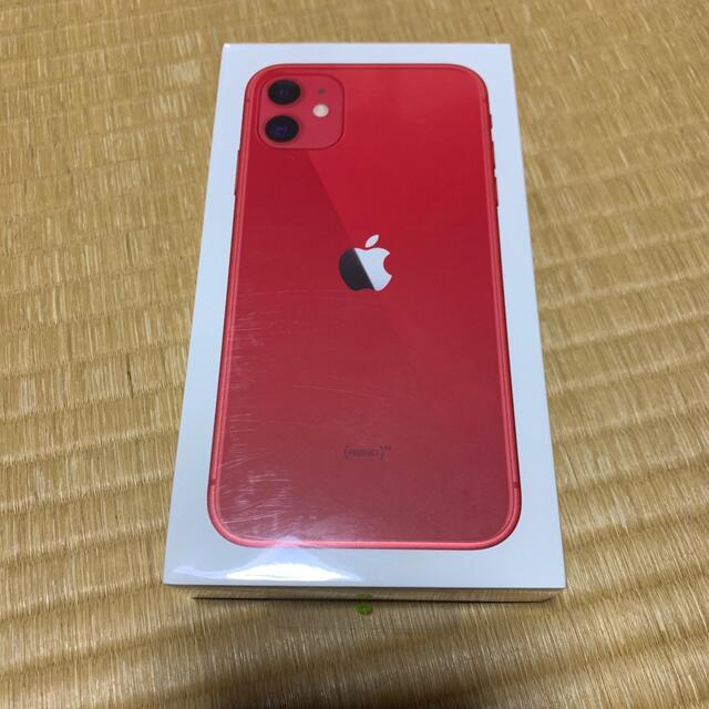 Apple(アップル)のiPhone 11 128GB 赤 本体 スマホ/家電/カメラのスマートフォン/携帯電話(スマートフォン本体)の商品写真