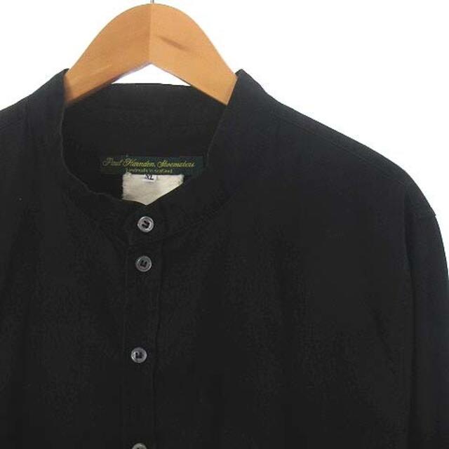 Paul Harnden(ポールハーデン)のポールハーデン バンドカラー シャツ ノーカラー コットン 長袖 黒 XL メンズのトップス(シャツ)の商品写真