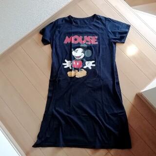 ディズニー(Disney)のミッキー ディズニー 半袖 Tシャツ 膝丈 ロング ワンピース ネイビー 青(ひざ丈ワンピース)