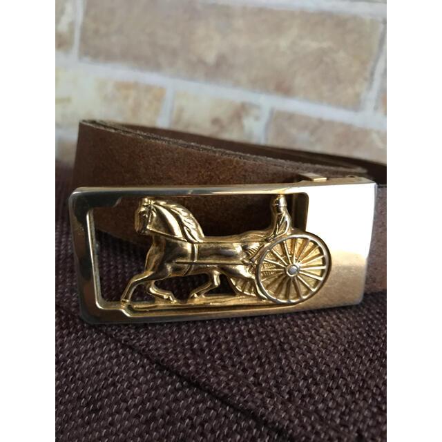 celine(セリーヌ)のCELINE レザーベルト 馬車 ヴィンテージ  ゴールド オールドセリーヌ レディースのファッション小物(ベルト)の商品写真