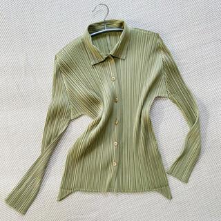 PLEATS PLEASE ISSEY MIYAKE - ISSEY MIYAKE イッセイミヤケ プリーツプリーズ 抹茶グリーン色シャツ