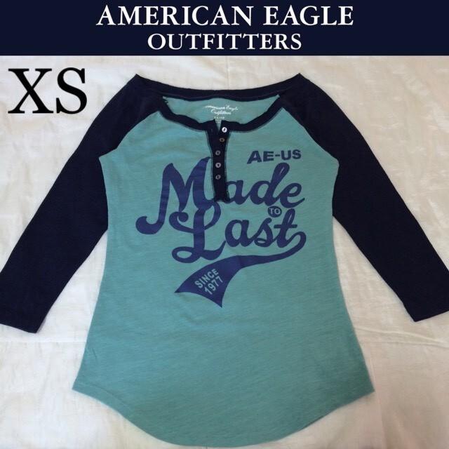 American Eagle(アメリカンイーグル)の1回着☆アメリカンイーグル七分袖TシャツXSホリスターアバクロンビー&フィッチ レディースのトップス(Tシャツ(長袖/七分))の商品写真