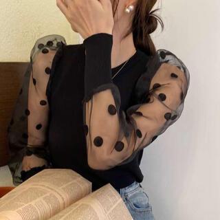 ⭐️売れ筋⭐️ドット柄 切り替え シースルー トップス 水玉 ブラウス 長袖