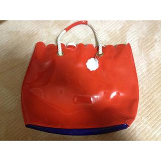 ドットアンドストライプスチャイルドウーマン(Dot&Stripes CHILDWOMAN)のスカラップバッグ オレンジ×ブルー(トートバッグ)