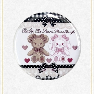 ベイビーザスターズシャインブライト(BABY,THE STARS SHINE BRIGHT)の【新品】くみゃちゃんのSweet Heart Check柄缶バッジ(黒)(その他)