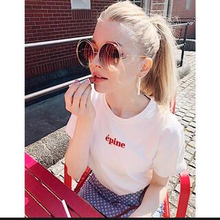 epine エピヌ embroidery tee white red 刺繍 ロゴ(Tシャツ(半袖/袖なし))