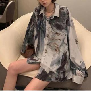 ART print shirt アート 大理石 シャツ(シャツ/ブラウス(長袖/七分))