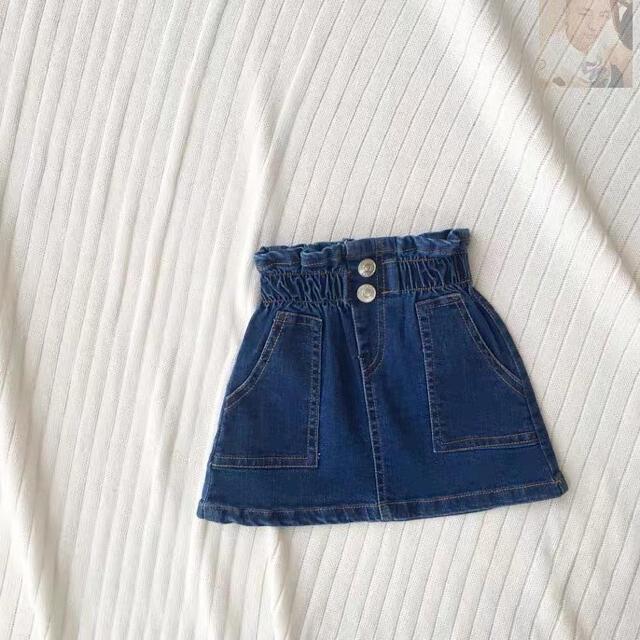petit main(プティマイン)のデニムスカート ミニスカート 女の子 新品未使用 タグ付き 韓国子供服 美品 キッズ/ベビー/マタニティのキッズ服女の子用(90cm~)(スカート)の商品写真