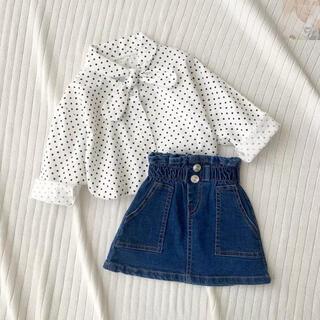 petit main - デニムスカート ミニスカート 女の子 新品未使用 タグ付き 韓国子供服 美品