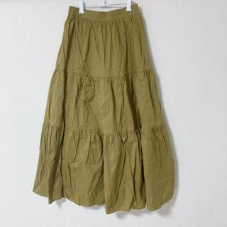 からし色 ティアードロングスカート