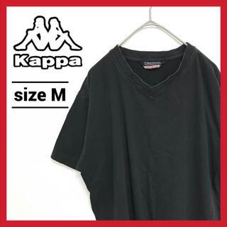 カッパ(Kappa)の90s 古着 カッパ Tシャツ 無地 Vネック 黒(Tシャツ/カットソー(半袖/袖なし))