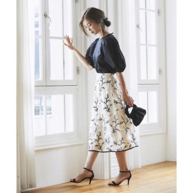 Drawer(ドゥロワー)のSEVENTENツイード刺繍スカート レディースのスカート(ひざ丈スカート)の商品写真