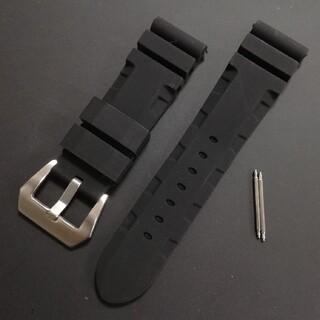 腕時計バンド ラバーベルト 24mm 黒 パネライやアップルウォッチなどにいかが