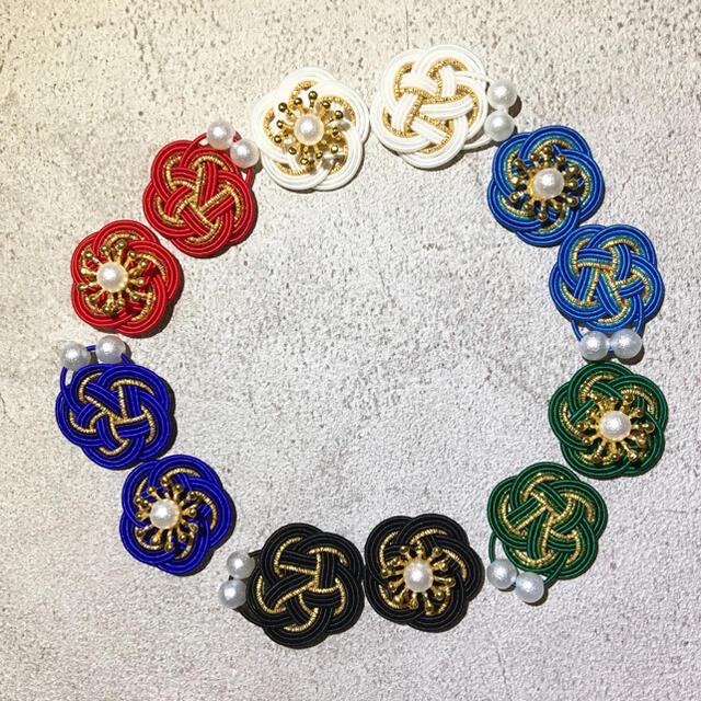 水引*青梅×3連パールピアス ハンドメイドのアクセサリー(ピアス)の商品写真