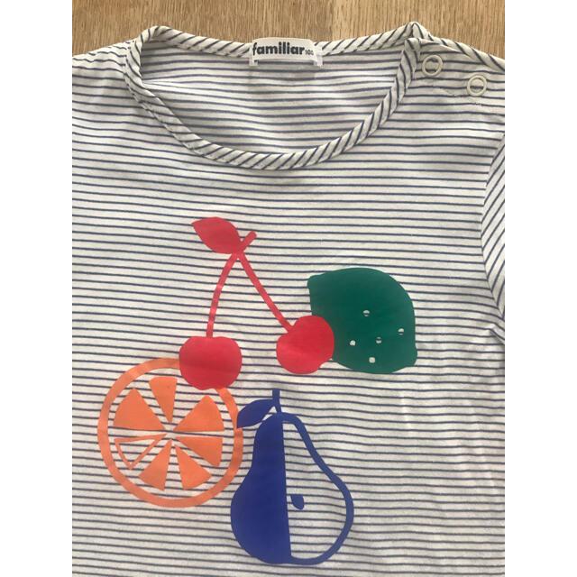 familiar(ファミリア)のファミリア  フルーツボーダーTシャツ 100サイズ キッズ/ベビー/マタニティのキッズ服女の子用(90cm~)(Tシャツ/カットソー)の商品写真