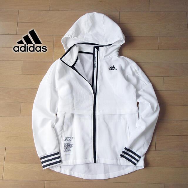 adidas(アディダス)のadidas S〜M アディダス レディース パーカージャケット/ジャージ 白 レディースのトップス(パーカー)の商品写真