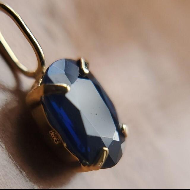 大粒ロイヤルブルーサファイア ネックレストップ K18 レディースのアクセサリー(ネックレス)の商品写真