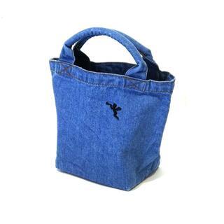 ⭐天使の刺繍 パイプハンドル ミニデニムトートバッグ ヴィンテージブルー⭐y01