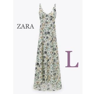 ZARA - 【新品・未使用】ZARA プリント柄 サテン ワンピース