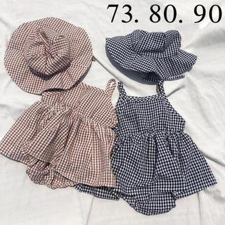 ザラキッズ(ZARA KIDS)の*韓国子供服 * 春夏 帽子付き ギンガムチェック ロンパース ワンピース(ロンパース)