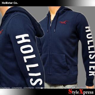 ホリスター(Hollister)の新品 ホリスター 紺 S M 袖ロゴアップリケ フルジップパーカー アバクロ(パーカー)