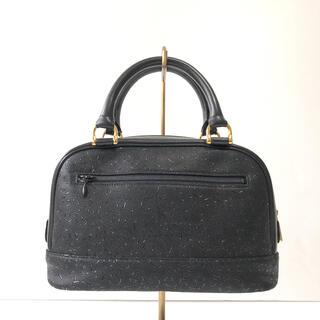 インデンヤ(印傳屋)の美品 印傳屋 INDEN-YA ハンドバック 黒 型押し レザー ブラック 鞄(ハンドバッグ)