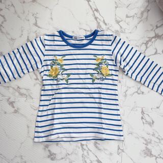 ドンキージョシー(Donkey Jossy)の青ボーダーTシャツ フラワーモチーフ(Tシャツ/カットソー)