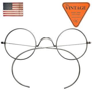 美品40sUSAヴィンテージ丸メガネ正丸メタルラウンド良シェイプアメリカフレーム(サングラス/メガネ)