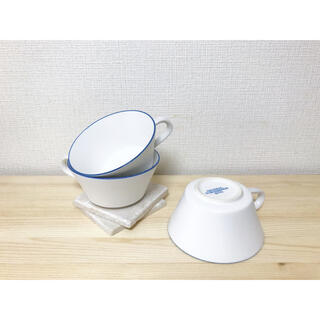 iittala - GF&Co.🍋美品 ブルーリム トリムデザイン スープマグ/マルチボウル