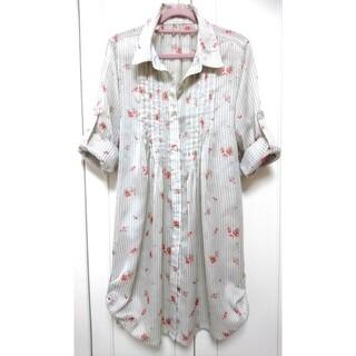 ロングシャツ 花柄 ストライプ