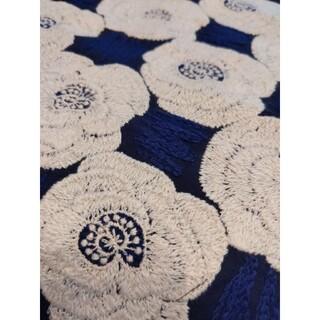mina perhonen - ハンドメイド ミナペルホネンrose刺繍の大きめ生地ハギレ