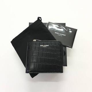 サンローラン(Saint Laurent)の新品 21SS サンローラン クロコ型押し L字ファスナー 2つ折り 財布(折り財布)