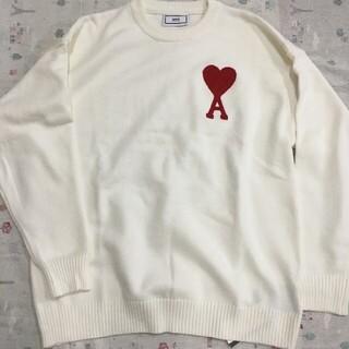 アクネ(ACNE)のAMI ニット/セーター 男女兼用 Lサイズ ホワイト(ニット/セーター)