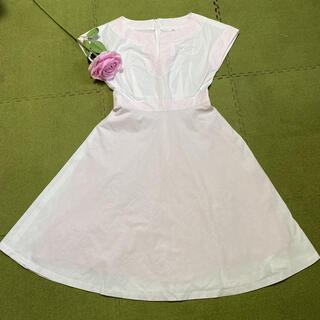 ハロッズ(Harrods)の3日限定!特別価格!エリザ☆素敵な白ピンク☆ワンピース(ひざ丈ワンピース)