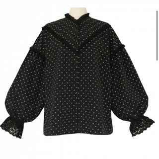ZARA - baybee pin tuck frillblouse(black dot)