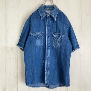 ブルーブルー(BLUE BLUE)のブルーブルー ウエスタン 半袖デニムシャツ クラッシュ加工 ユーズド加工 古着(シャツ)