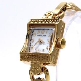 ハミルトン(Hamilton)の【HAMILTON】ハミルトン 時計 'イエローゴールド'ホワイトシェル☆美品☆(腕時計)