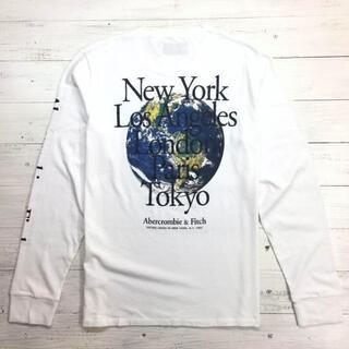 新品【メンズL】★アバクロ★目を惹くバックプリント長袖Tシャツ/白/背中ロゴ