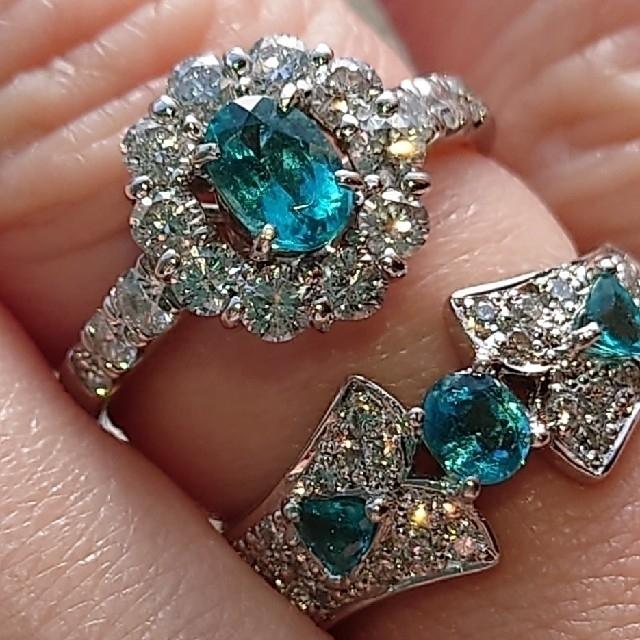 パライバトルマリン ダイヤモンド リング レディースのアクセサリー(リング(指輪))の商品写真