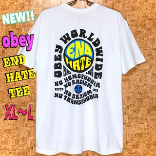 オベイ(OBEY)のUSストリート☆ 新品 OBEY  END HATE Tシャツ 白 XL ~ L(Tシャツ/カットソー(半袖/袖なし))