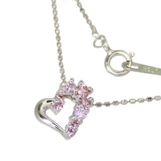 ネックレス ハート K18WG ピンクダイヤモンド