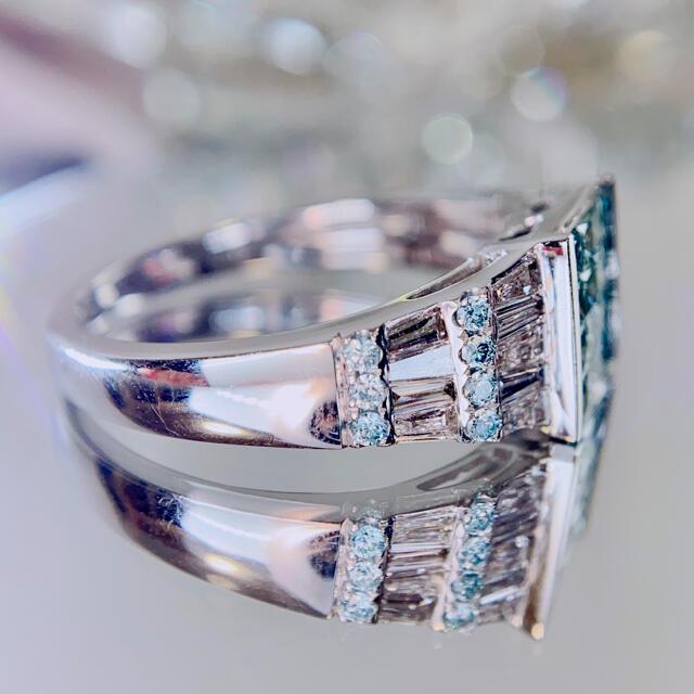 極上ブルーダイヤモンド ミステリーセッティング プリンセスカットバゲットカット レディースのアクセサリー(リング(指輪))の商品写真