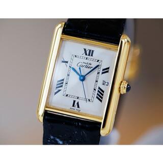 Cartier - 美品 カルティエ マスト タンク ホワイト ローマン デイト LM