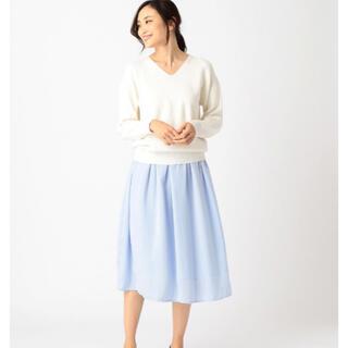 コムサイズム(COMME CA ISM)のお値下げ♡新品 コムサイズム フレアスカート L 水色(ひざ丈スカート)