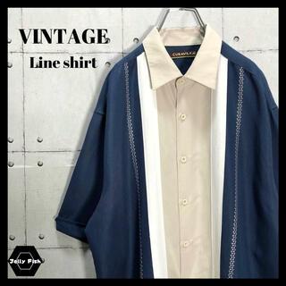 アートヴィンテージ(ART VINTAGE)の【レアカラー】ボーリングシャツ ラインシャツ バイカラー アースカラー XL(シャツ)