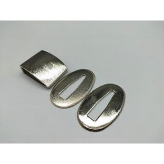 はばき 切羽 銀色セット 銅製 日本刀装具 ハバキ せっぱ(武具)