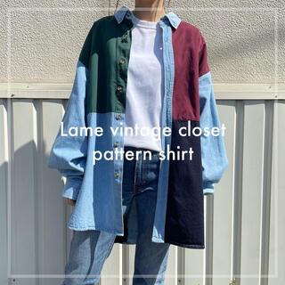 Santa Monica - 90s 古着 クレイジーパターン デニムシャツ ユニセックス ビンテージ