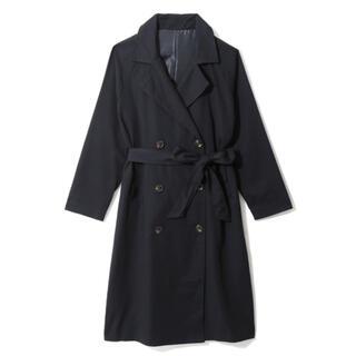 グレイル(GRL)のGRL ツイルラグランロングトレンチコート ネイビー 人気 韓国ファッション 春(トレンチコート)