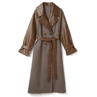 グレイル(GRL)のGRL レザーミックスチェックトレンチコート 人気 韓国ファッション オルチャン(トレンチコート)