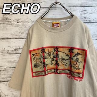 エコーアンリミテッド(ECKŌ UNLTD(ECKO UNLTD))のエコー アンリミテッド Tシャツ カットソー ベージュ 和柄 古着 L(Tシャツ/カットソー(半袖/袖なし))